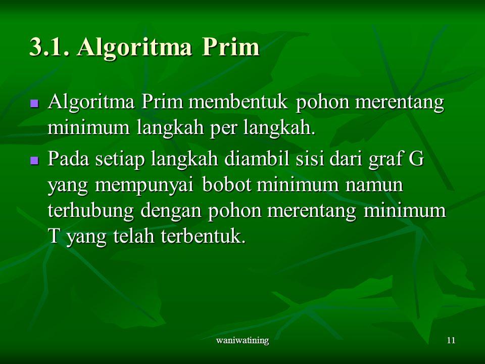 3.1. Algoritma Prim Algoritma Prim membentuk pohon merentang minimum langkah per langkah.