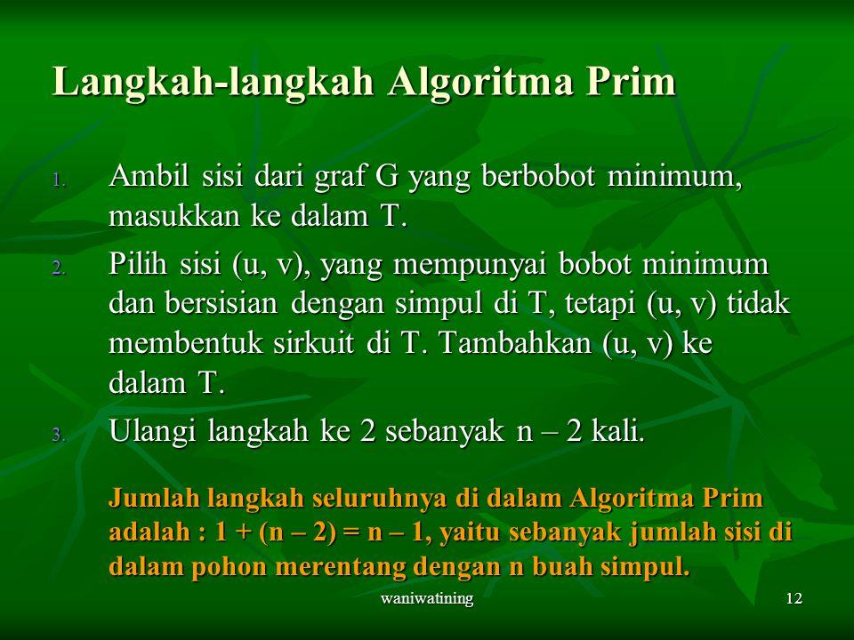 Langkah-langkah Algoritma Prim