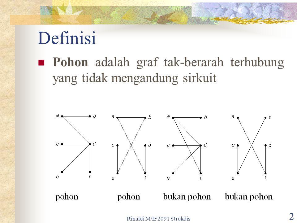 Definisi Pohon adalah graf tak-berarah terhubung yang tidak mengandung sirkuit.