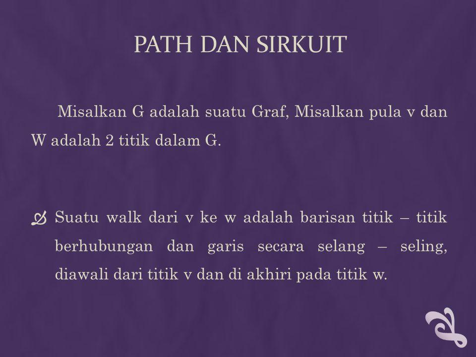Path dan sirkuit Misalkan G adalah suatu Graf, Misalkan pula v dan W adalah 2 titik dalam G.