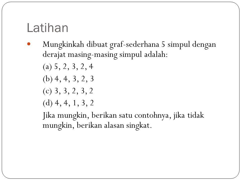 Latihan Mungkinkah dibuat graf-sederhana 5 simpul dengan derajat masing-masing simpul adalah: (a) 5, 2, 3, 2, 4.