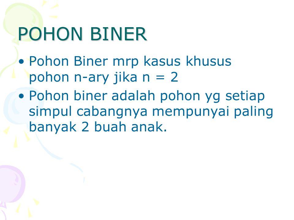 POHON BINER Pohon Biner mrp kasus khusus pohon n-ary jika n = 2