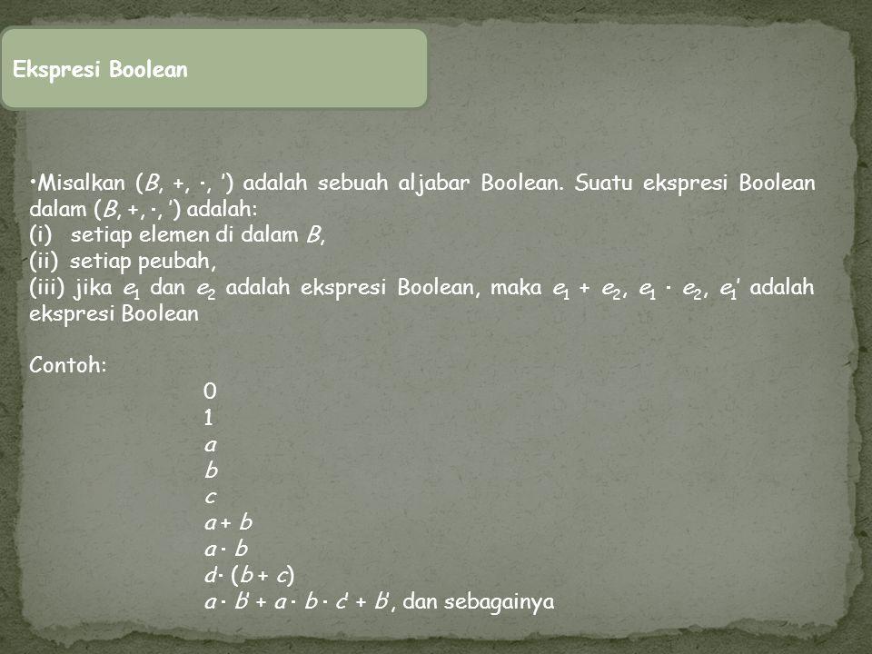 Ekspresi Boolean Misalkan (B, +, , ') adalah sebuah aljabar Boolean. Suatu ekspresi Boolean dalam (B, +, , ') adalah: