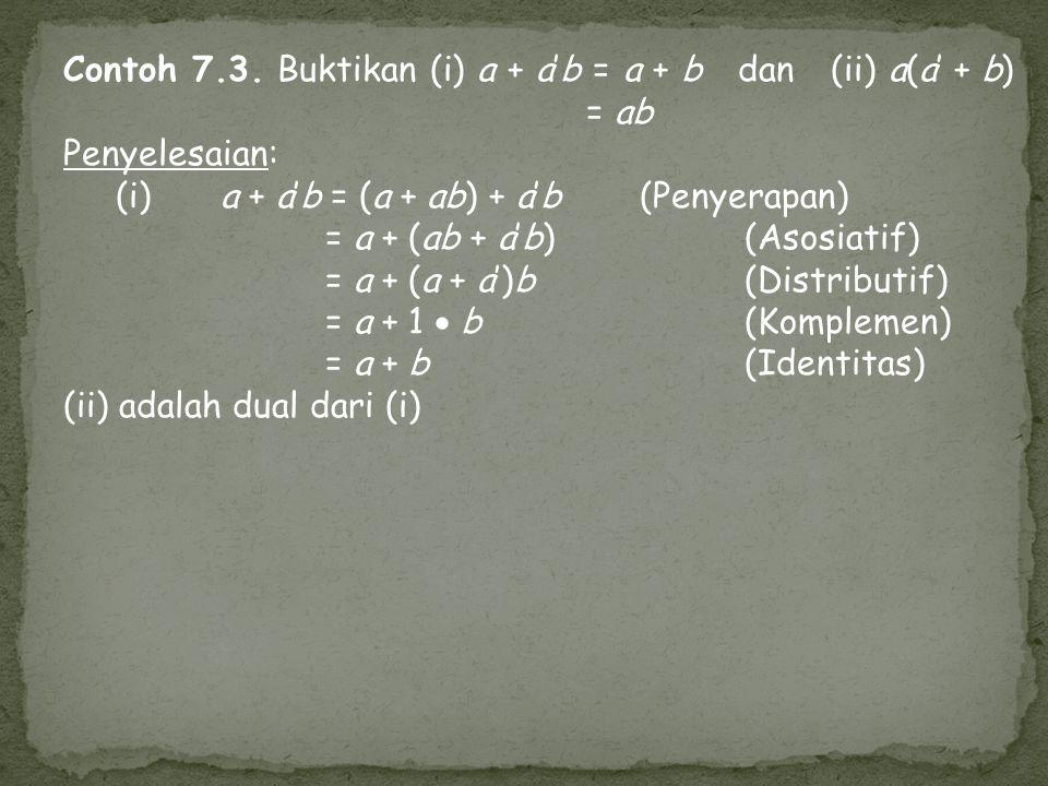 Contoh 7.3. Buktikan (i) a + a'b = a + b dan (ii) a(a' + b) = ab