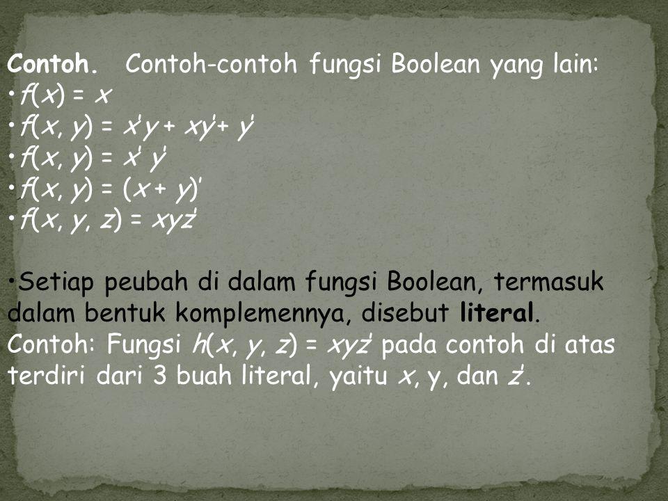Contoh. Contoh-contoh fungsi Boolean yang lain: