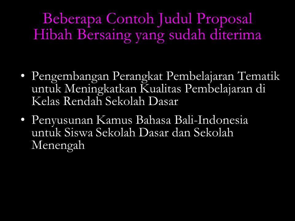 Beberapa Contoh Judul Proposal Hibah Bersaing yang sudah diterima