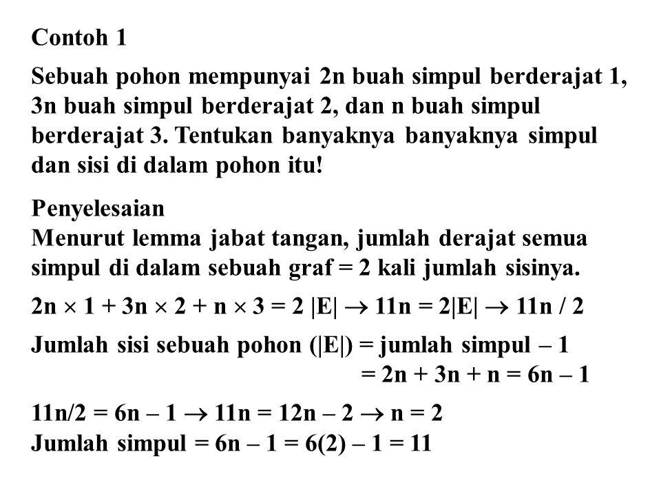 Contoh 1 Sebuah pohon mempunyai 2n buah simpul berderajat 1, 3n buah simpul berderajat 2, dan n buah simpul.