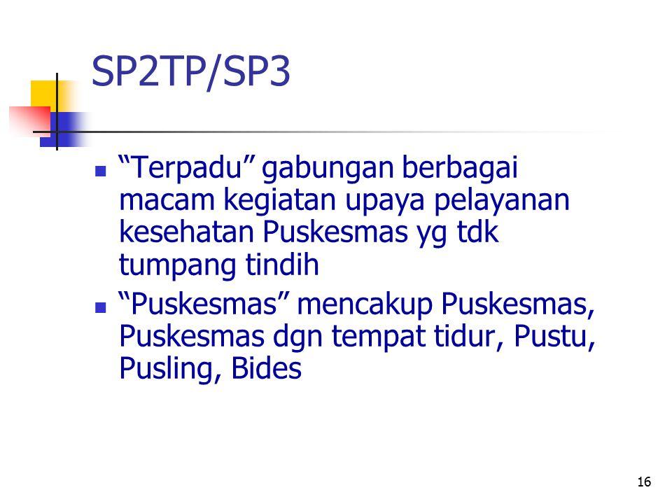 SP2TP/SP3 Terpadu gabungan berbagai macam kegiatan upaya pelayanan kesehatan Puskesmas yg tdk tumpang tindih.