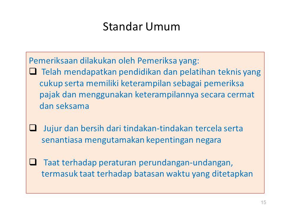 Standar Umum Pemeriksaan dilakukan oleh Pemeriksa yang: