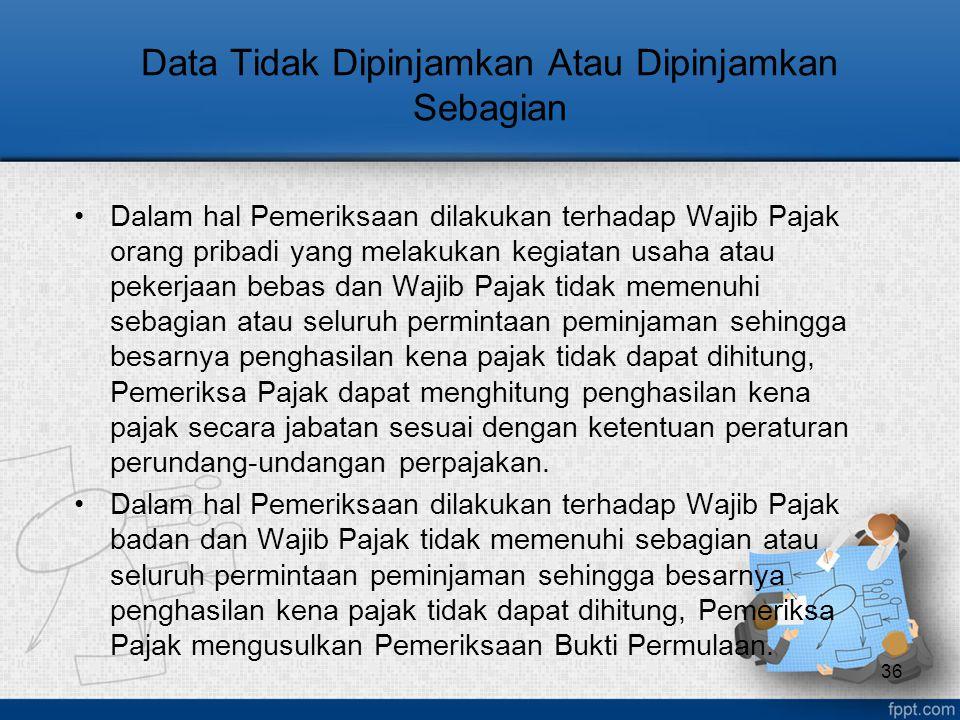 Data Tidak Dipinjamkan Atau Dipinjamkan Sebagian