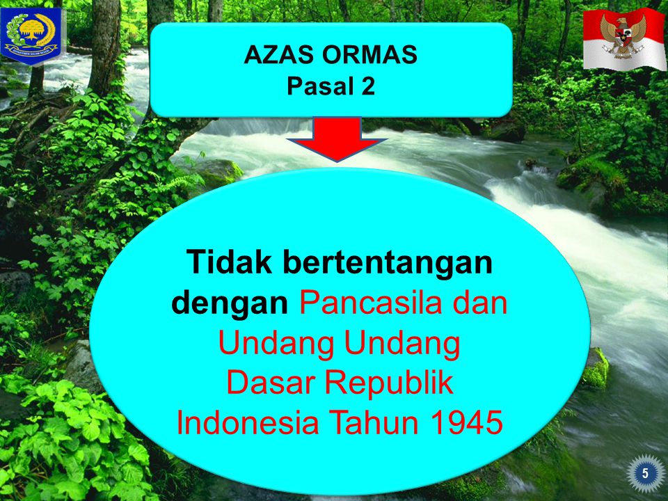AZAS ORMAS Pasal 2. Tidak bertentangan dengan Pancasila dan Undang Undang Dasar Republik Indonesia Tahun 1945.