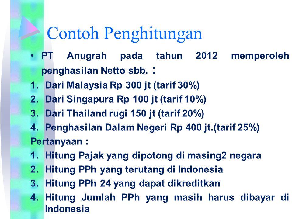 Contoh Penghitungan PT Anugrah pada tahun 2012 memperoleh penghasilan Netto sbb. : Dari Malaysia Rp 300 jt (tarif 30%)