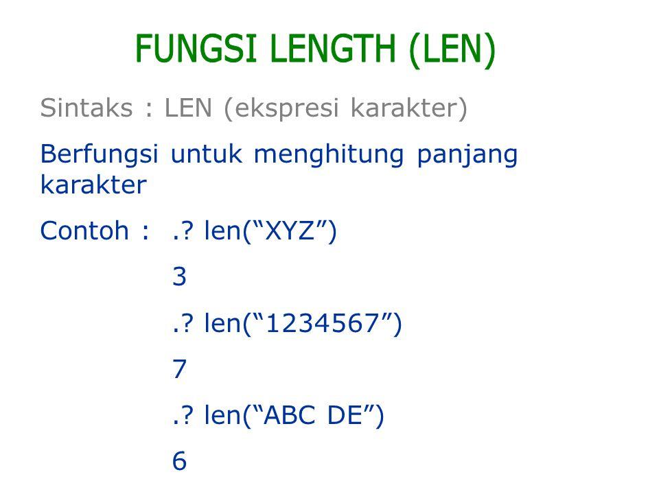 FUNGSI LENGTH (LEN) Sintaks : LEN (ekspresi karakter)