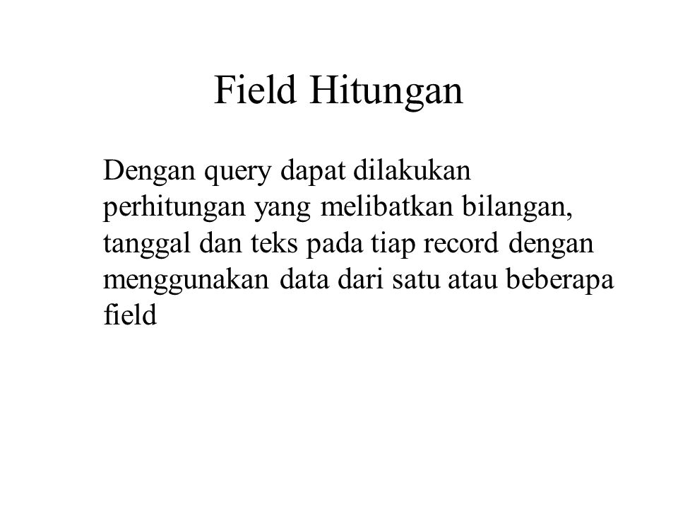 Field Hitungan