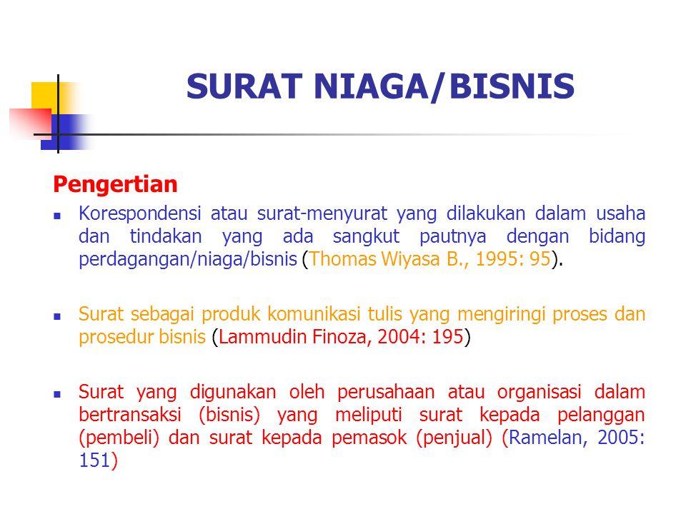 SURAT NIAGA/BISNIS Pengertian