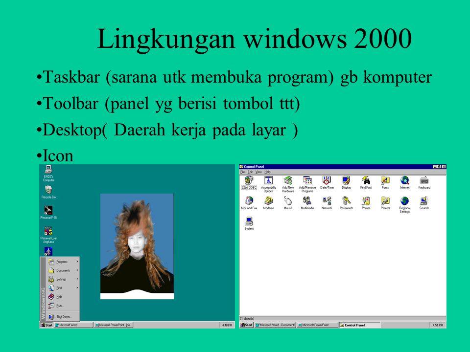 Lingkungan windows 2000 Taskbar (sarana utk membuka program) gb komputer. Toolbar (panel yg berisi tombol ttt)