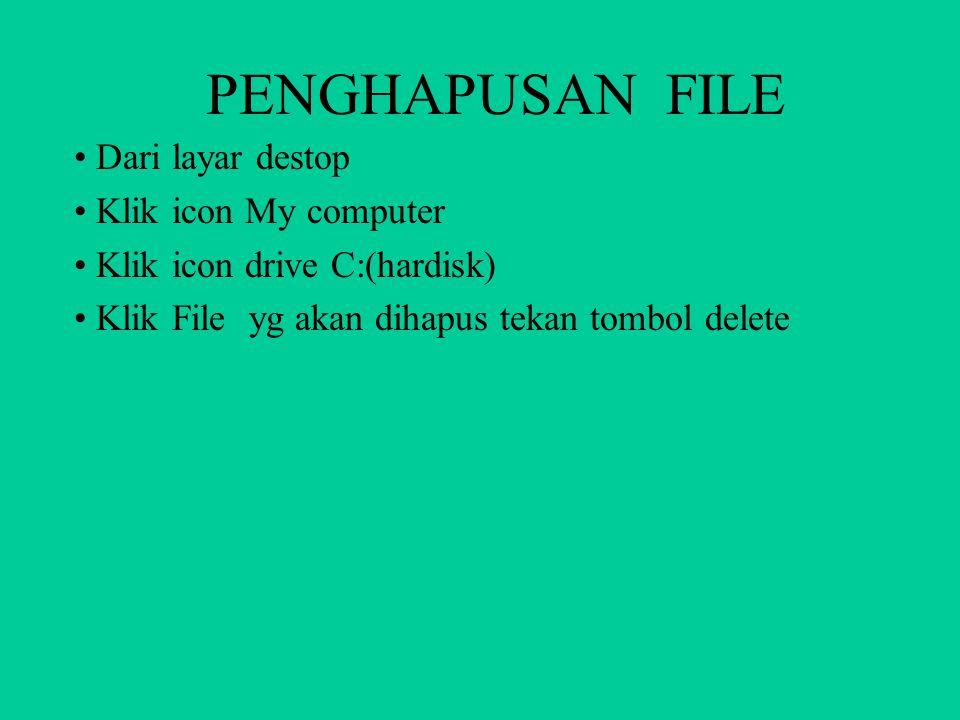 PENGHAPUSAN FILE Dari layar destop Klik icon My computer