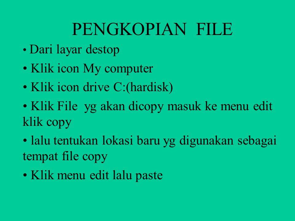 PENGKOPIAN FILE Klik icon My computer Klik icon drive C:(hardisk)