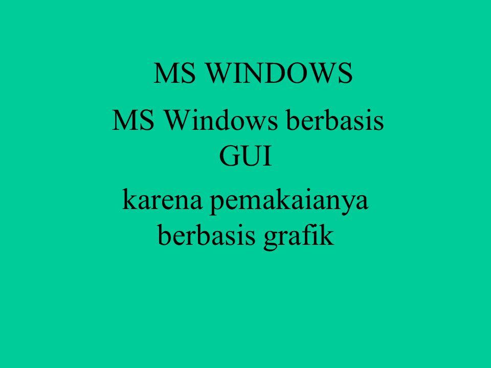 MS Windows berbasis GUI karena pemakaianya berbasis grafik