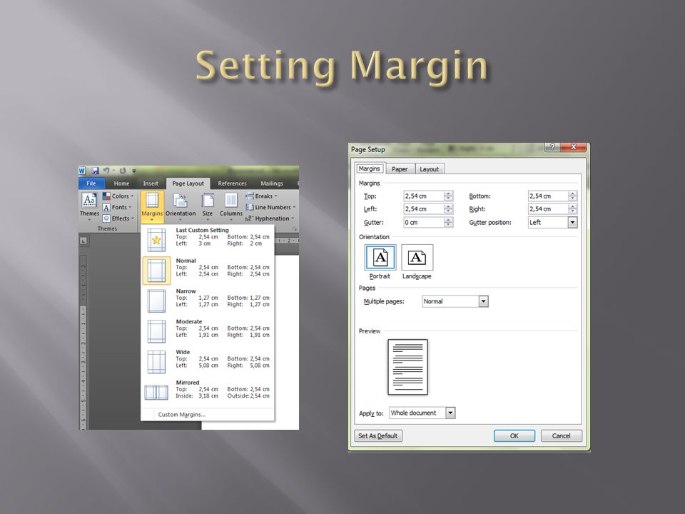 Setting Margin