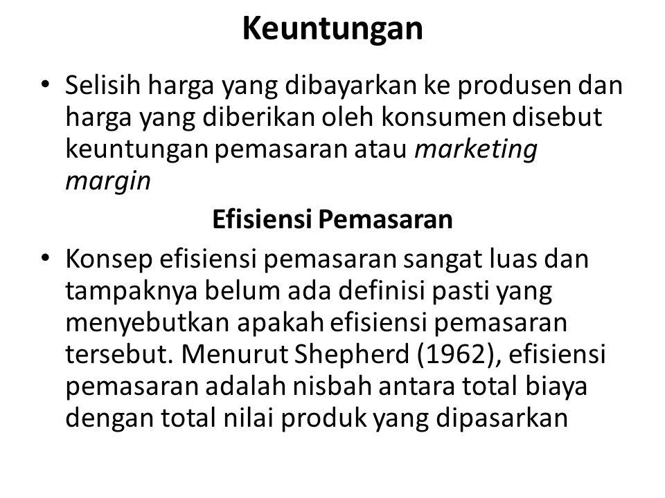 Keuntungan Selisih harga yang dibayarkan ke produsen dan harga yang diberikan oleh konsumen disebut keuntungan pemasaran atau marketing margin.