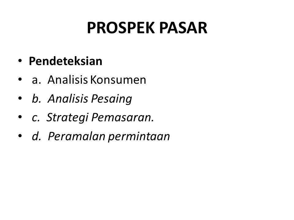 PROSPEK PASAR Pendeteksian a. Analisis Konsumen b. Analisis Pesaing