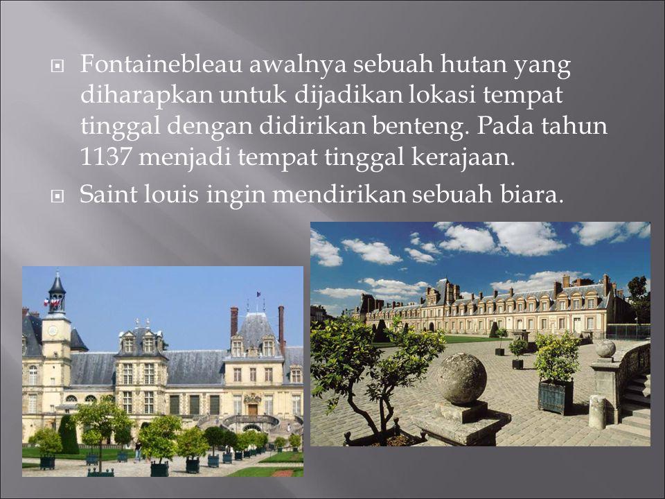 Fontainebleau awalnya sebuah hutan yang diharapkan untuk dijadikan lokasi tempat tinggal dengan didirikan benteng. Pada tahun 1137 menjadi tempat tinggal kerajaan.