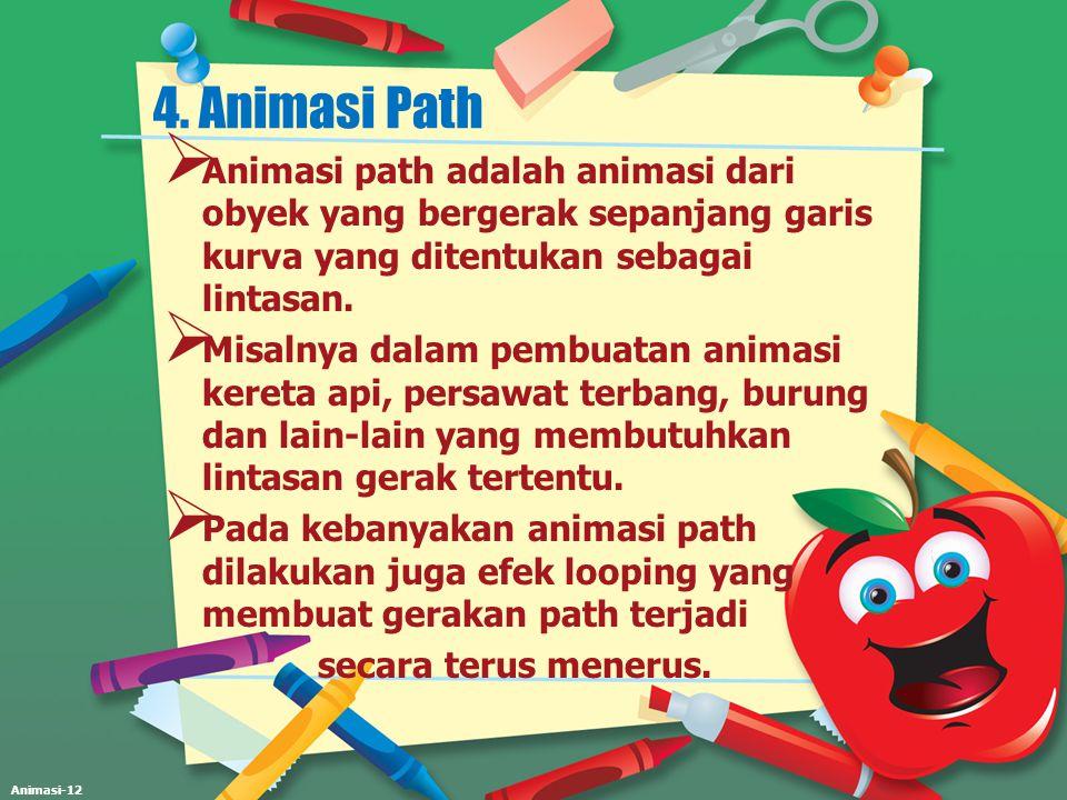 4. Animasi Path Animasi path adalah animasi dari obyek yang bergerak sepanjang garis kurva yang ditentukan sebagai lintasan.