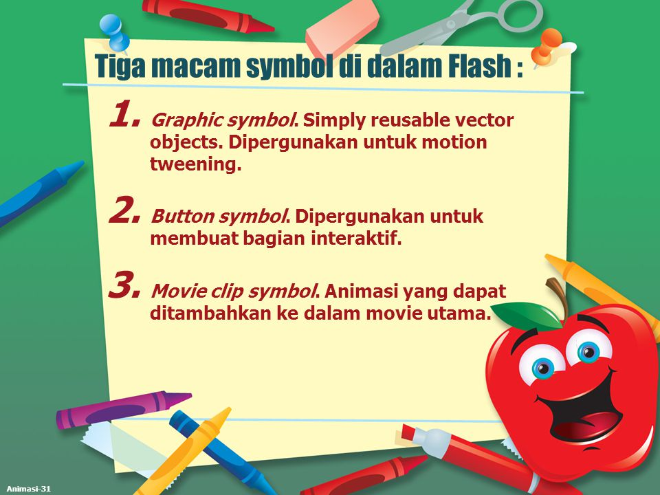 Tiga macam symbol di dalam Flash :