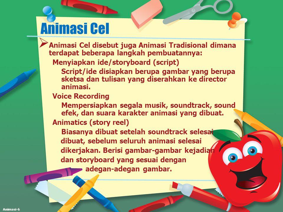Animasi Cel Animasi Cel disebut juga Animasi Tradisional dimana terdapat beberapa langkah pembuatannya: