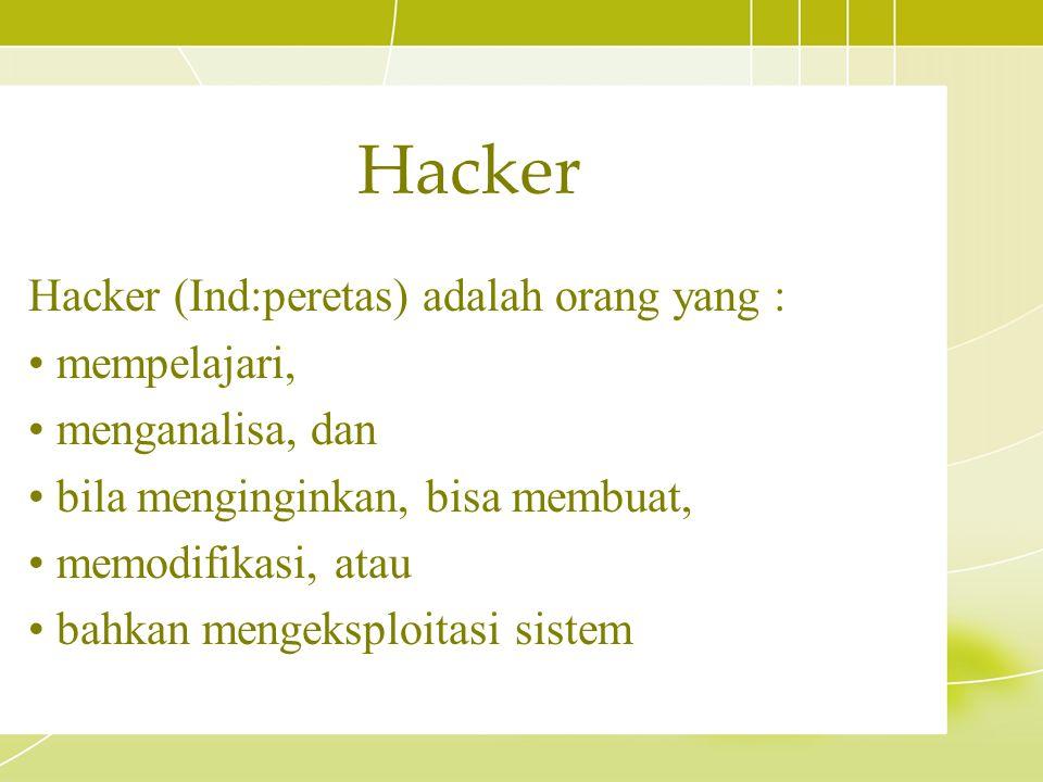 Hacker Hacker (Ind:peretas) adalah orang yang : mempelajari,