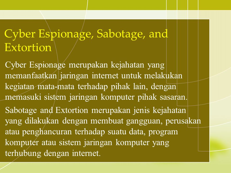 Cyber Espionage, Sabotage, and Extortion