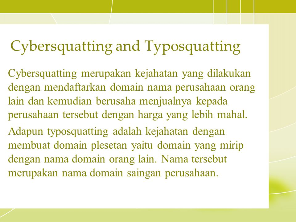 Cybersquatting and Typosquatting