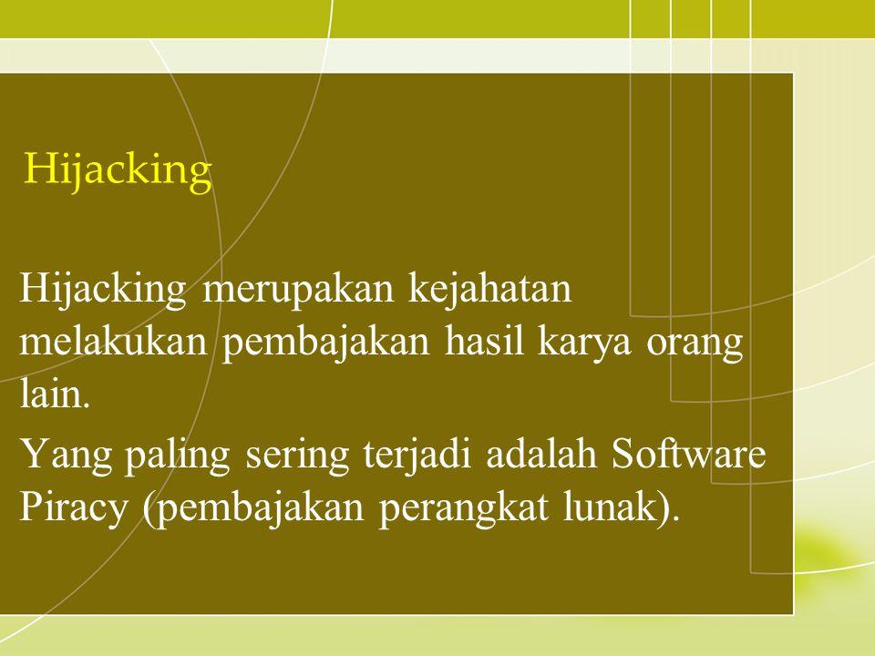 Hijacking Hijacking merupakan kejahatan melakukan pembajakan hasil karya orang lain.