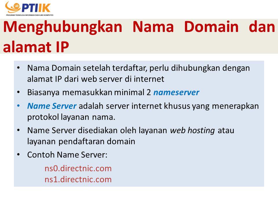 Menghubungkan Nama Domain dan alamat IP