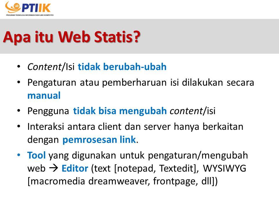 Apa itu Web Statis Content/Isi tidak berubah-ubah