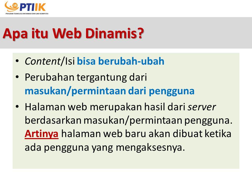 Apa itu Web Dinamis Content/Isi bisa berubah-ubah