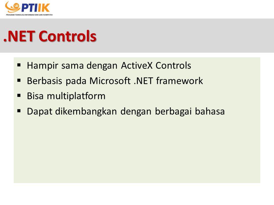 .NET Controls Hampir sama dengan ActiveX Controls