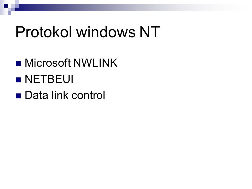 Protokol windows NT Microsoft NWLINK NETBEUI Data link control