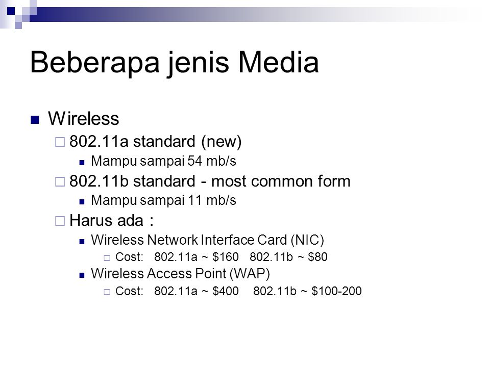 Beberapa jenis Media Wireless 802.11a standard (new)