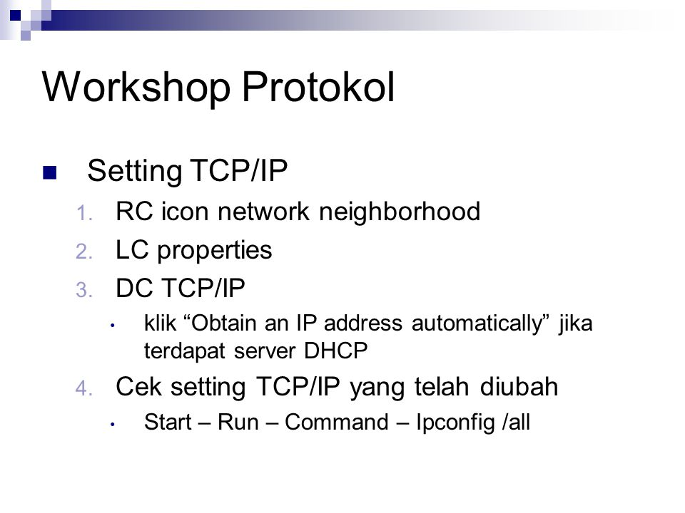 Workshop Protokol Setting TCP/IP RC icon network neighborhood