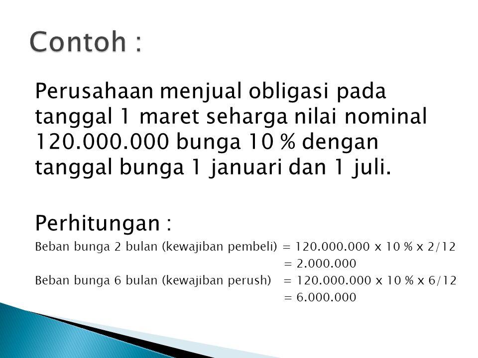 Contoh : Perusahaan menjual obligasi pada tanggal 1 maret seharga nilai nominal 120.000.000 bunga 10 % dengan tanggal bunga 1 januari dan 1 juli.