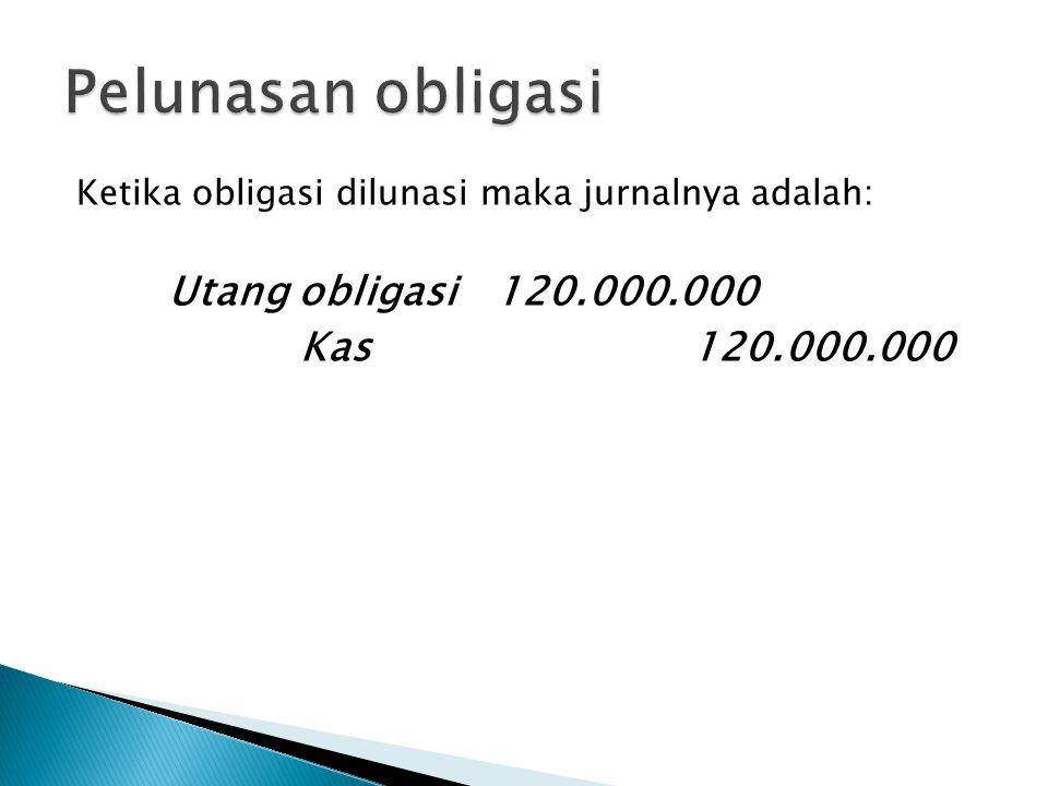 Pelunasan obligasi Kas 120.000.000