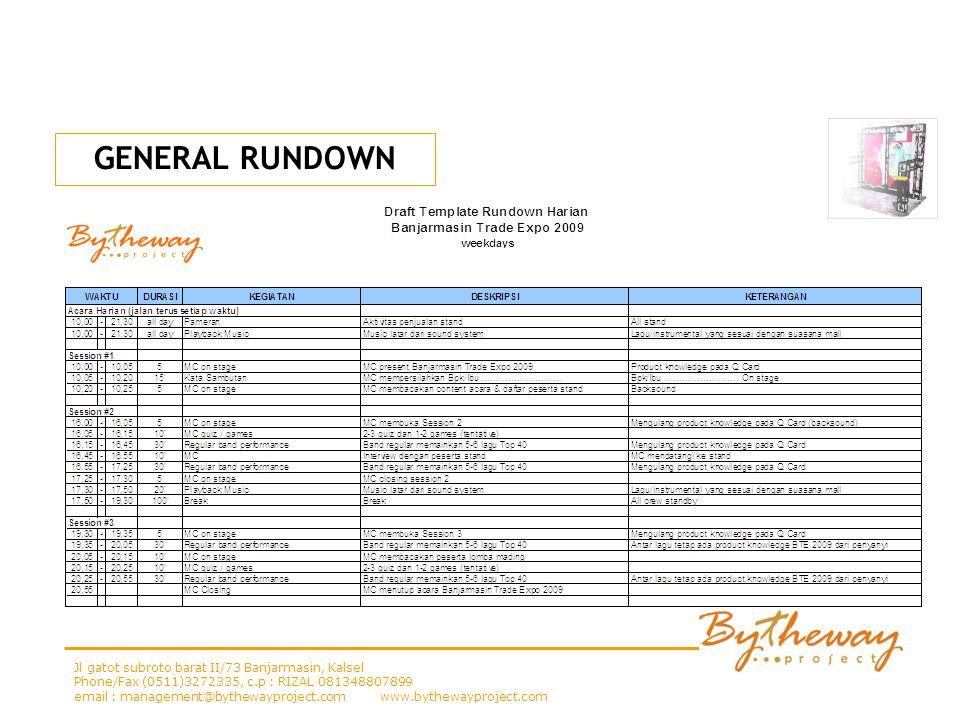 GENERAL RUNDOWN Jl gatot subroto barat II/73 Banjarmasin, Kalsel