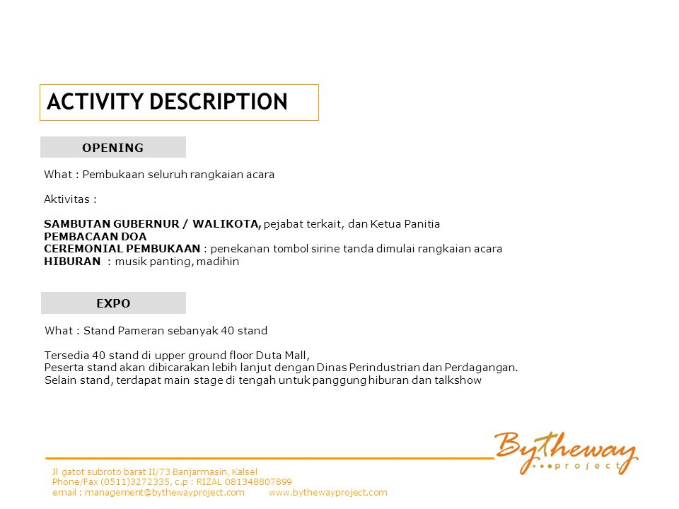 ACTIVITY DESCRIPTION OPENING EXPO