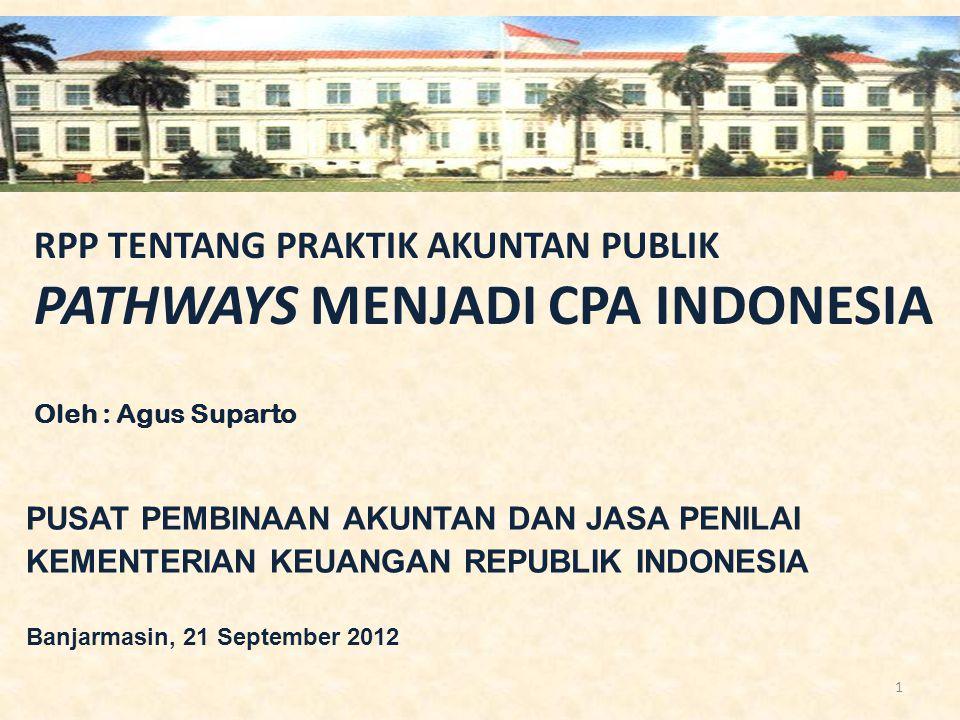 RPP TENTANG PRAKTIK AKUNTAN PUBLIK PATHWAYS MENJADI CPA INDONESIA Oleh : Agus Suparto