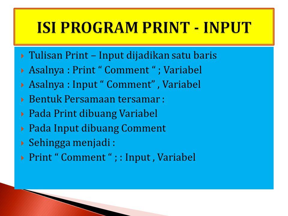 ISI PROGRAM PRINT - INPUT