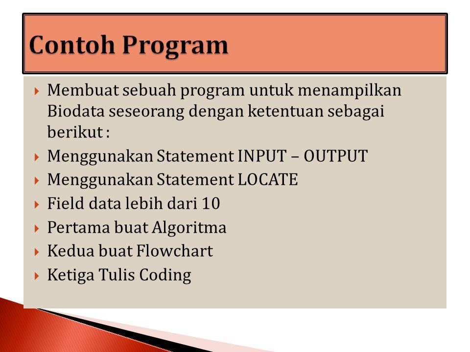 Contoh Program Membuat sebuah program untuk menampilkan Biodata seseorang dengan ketentuan sebagai berikut :