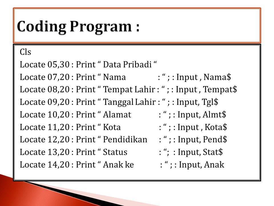 Coding Program :