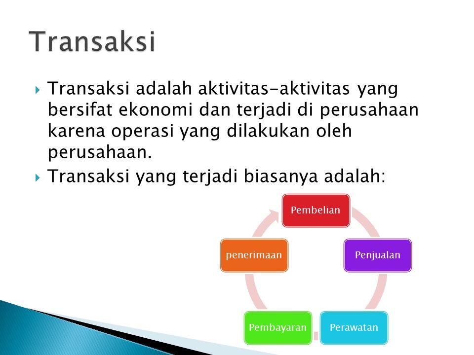 Transaksi Transaksi adalah aktivitas-aktivitas yang bersifat ekonomi dan terjadi di perusahaan karena operasi yang dilakukan oleh perusahaan.